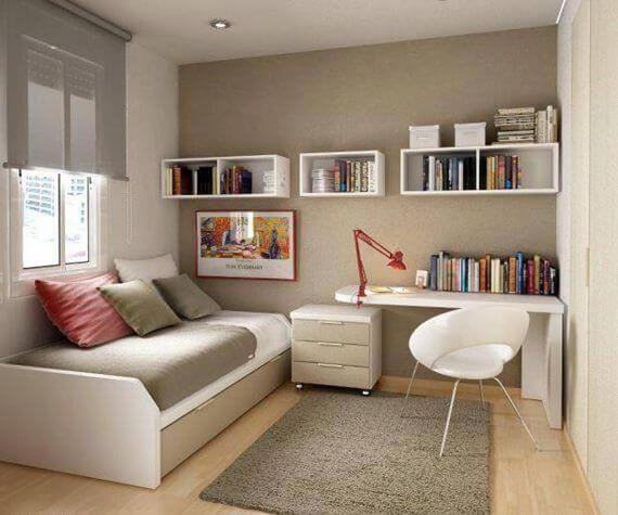 Sofá para escritório no quarto