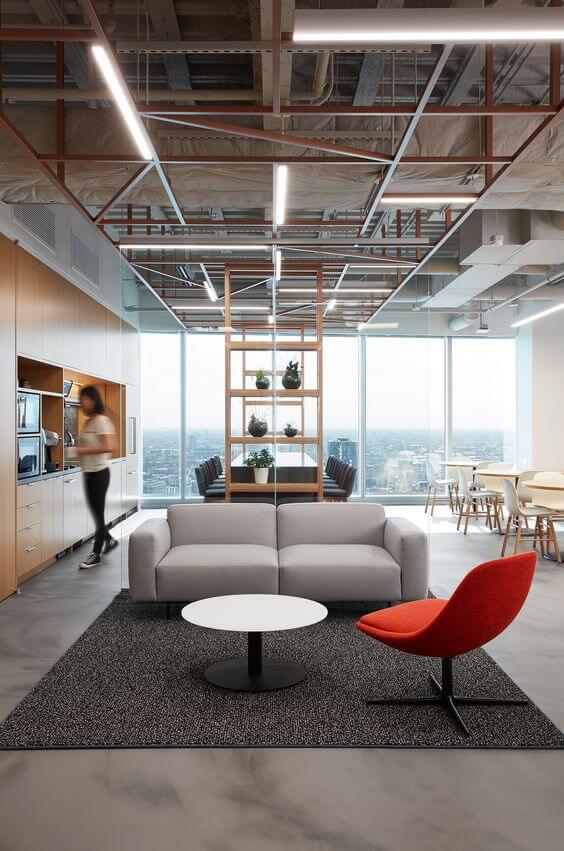 Sofá para escritório cinza e moderno