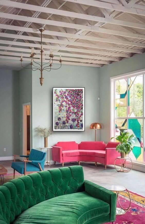 Sofá para escritório colorido e moderno