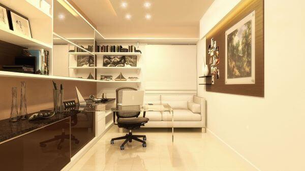 Sofá para escritório em tons terrosos