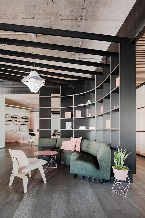 Sofá para escritório moderno e verde