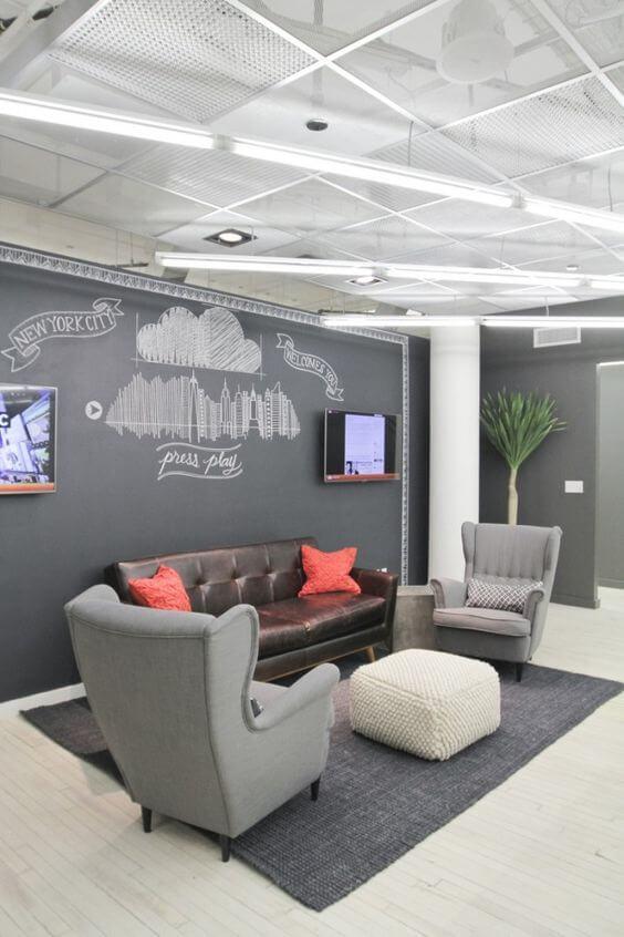 Sofá para escritório na recepção