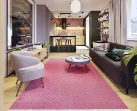 Tapete rosa na decoração da sala. Fonte: Behance