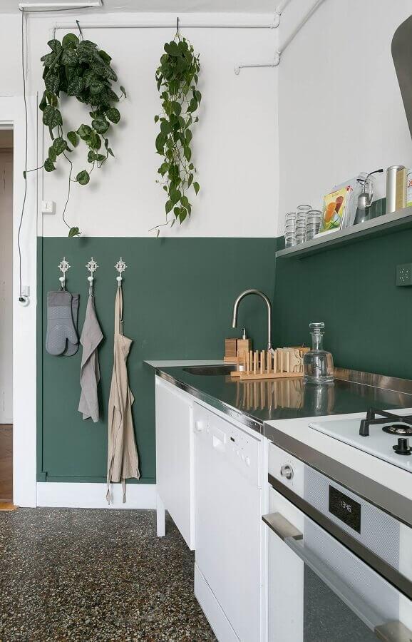 tinta verde para parede de cozinha simples Foto Reformar sem Quebrar