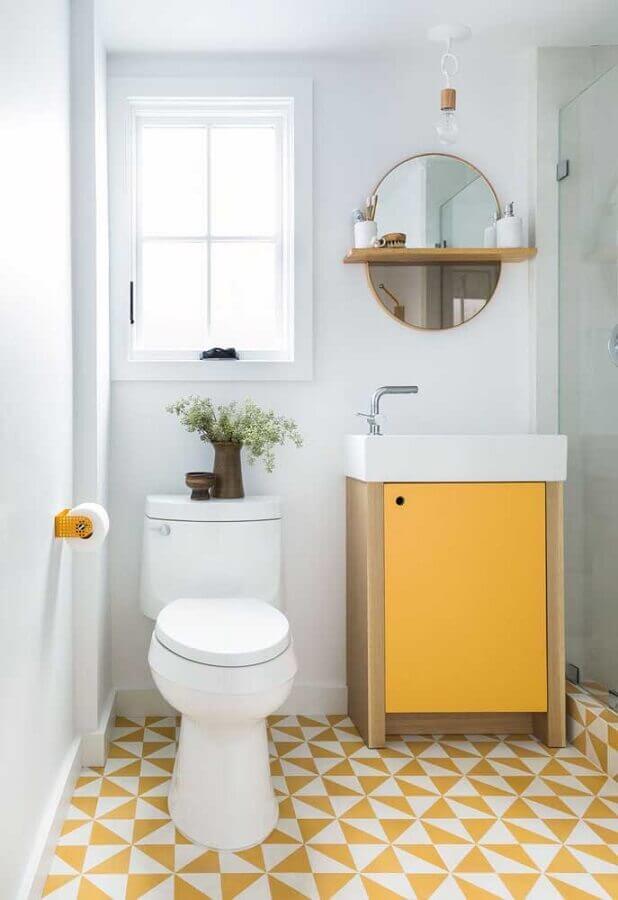 tons de amarelo para decoração de banheiro simples Foto Pinterest