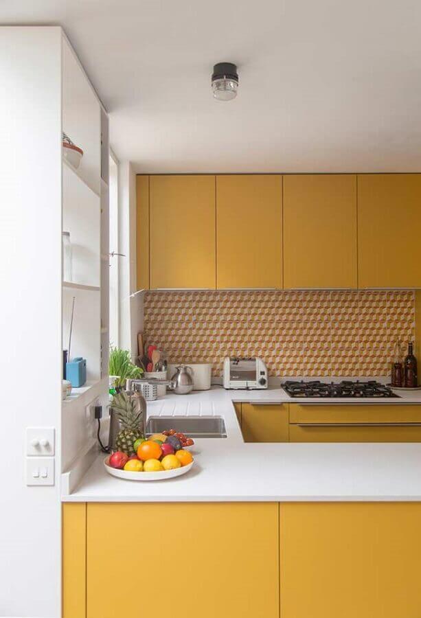 tons de amarelo para decoração de cozinha planejada Foto Houzz