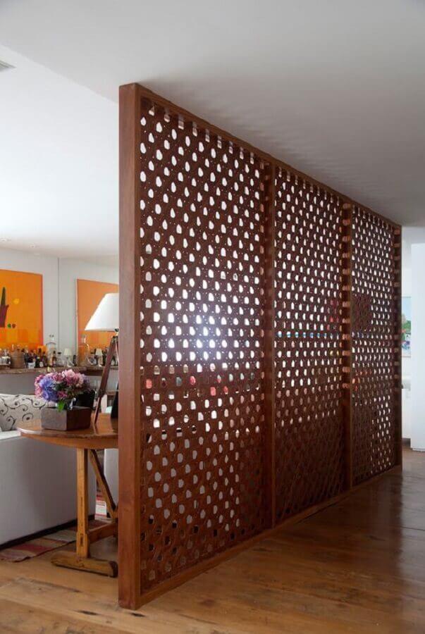 treliça de madeira para divisória de sala e corredor Foto Dicas de Mulher