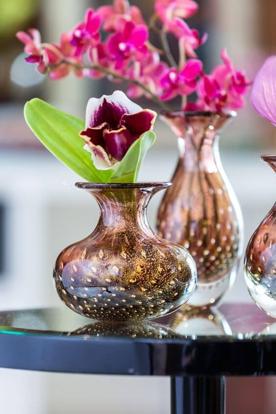 Vaso de murano ambar com flor pink