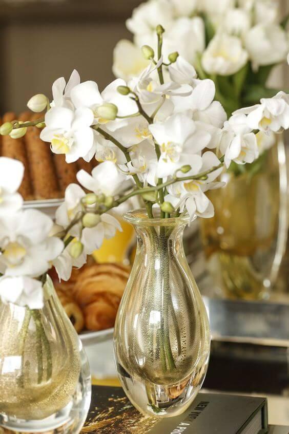 Vaso murano ambar com orquídeas