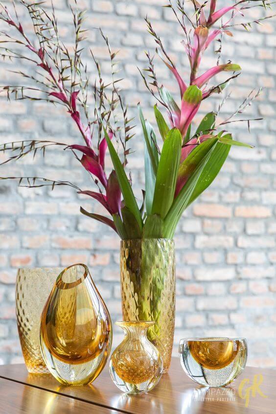 Vasos de cristal murano para decorar mesa de jantar