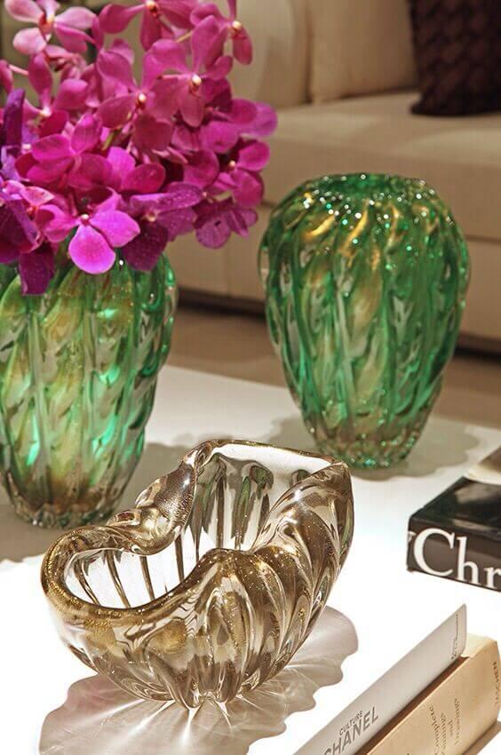 Vaso murano verde e ambar