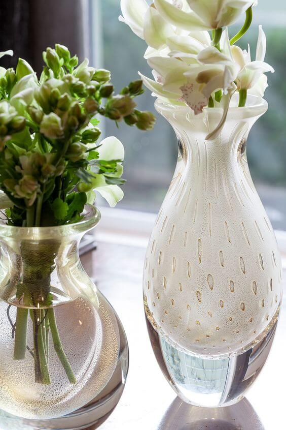 Vasos de cristal branco