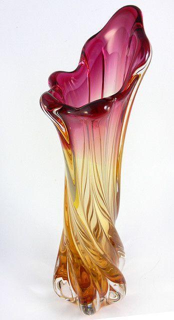 Vaso murano rosa e ambar