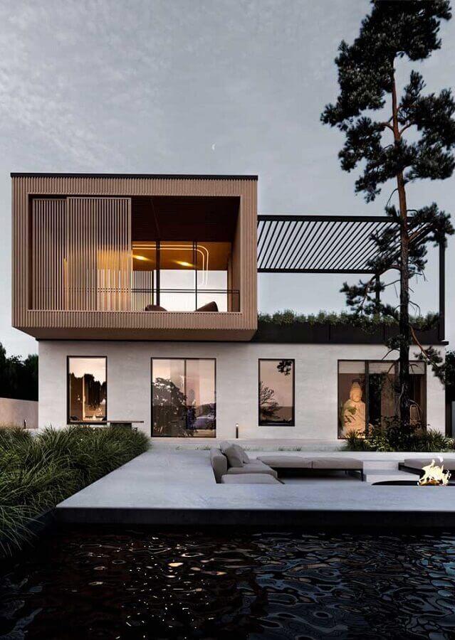 área externa de casas de luxo modernas com área de lazer Foto Behance