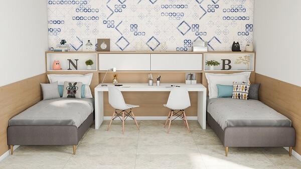 A cor de cerâmica para quarto compartilhado escolhida foi branco