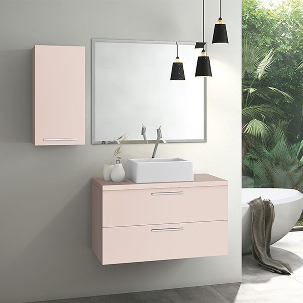 Banheiro rosa com jardim de inverno