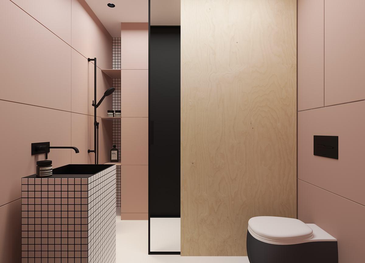 Banheiro rosa com revestimento