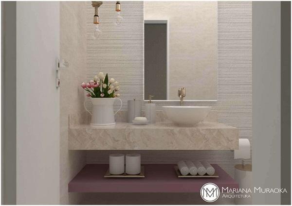 Banheiro rosa e branco clean