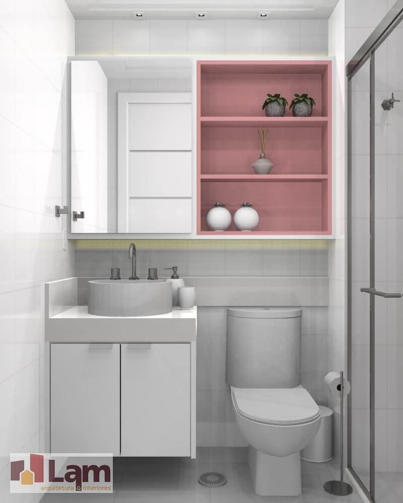 Banheiro rosa e branco nichos rosa e revestimento e bancada branco