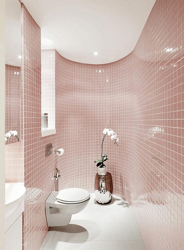 Banheiro rosa ladrilhos rosa