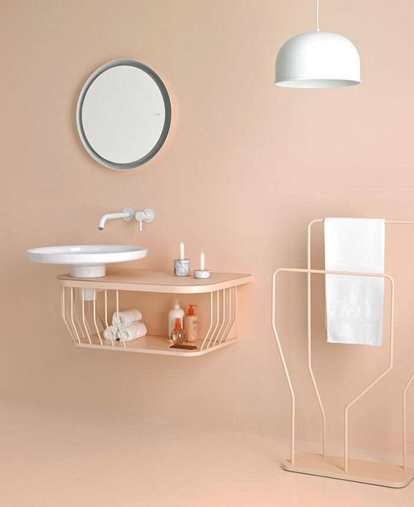 Banheiro rosa minimalista