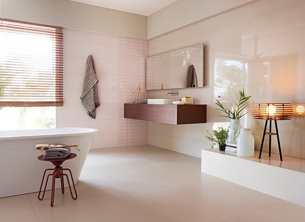 Banheiro rose gold rosa e branco