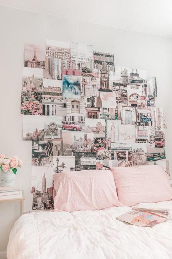 Crie um lindo mural de fotos sobre a cabeceira da cama. Fonte: Etsy