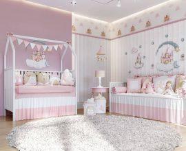 Decoração de quarto de bebê rosa
