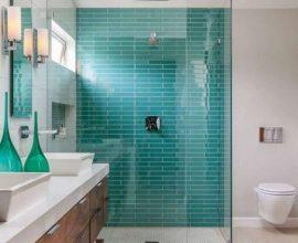 Decoração para banheiro com revestimento azul Tiffany Foto Pinterest