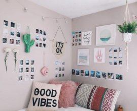 Decore o quarto com um lindo mural de fotos. Fonte:Hopscotch Detroit