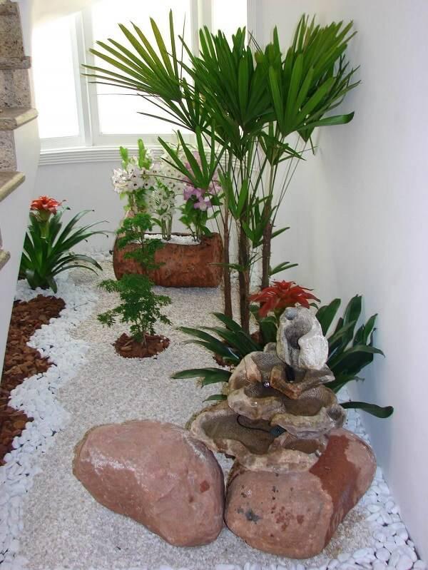 Jardim de inverno com pedras e plantas variadas