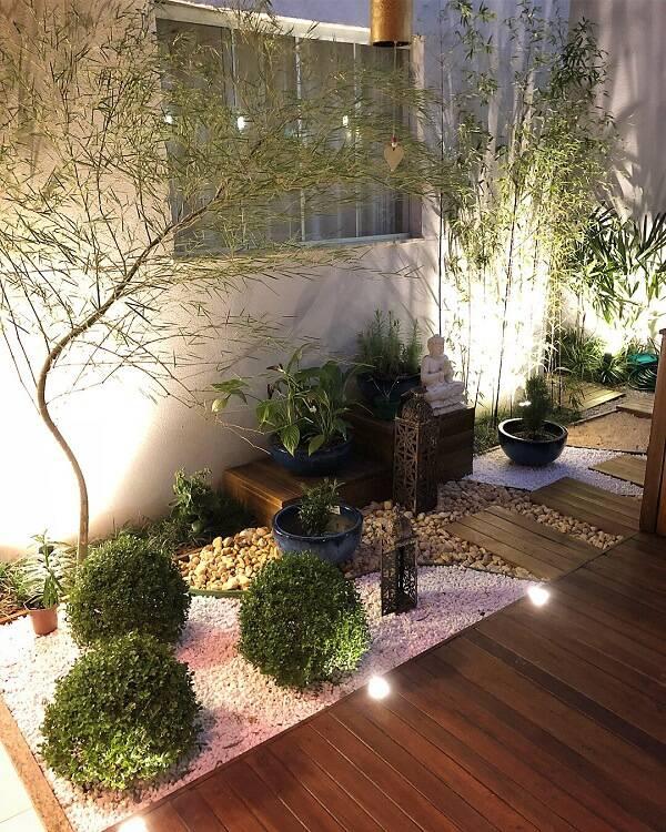 Jardim de inverno com canteiros de pedras brancas, diferentes plantas e iluminação