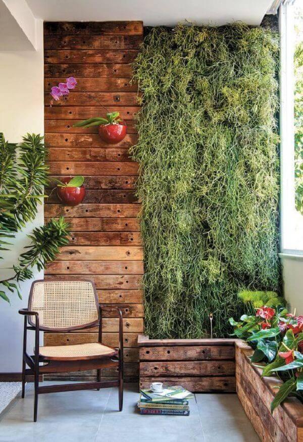 Parede e madeira com jardim suspenso e canteiro de madeira