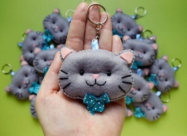 Modelo de chaveiro em formato de gato
