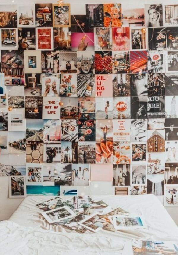 O mural de fotos deixa sua decoração ainda mais personalizada. Fonte: Society19