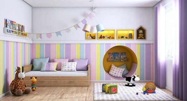 Piso cerâmico para quarto infantil
