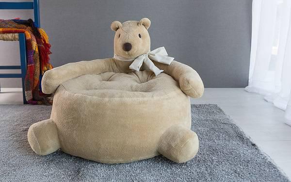 Puffs infantil urso bege com laço branco