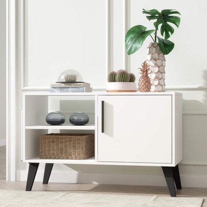 Rack retro pequena e branca para sala compacta