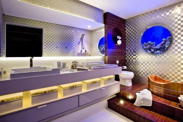 Reserve um pedaço da parede para montar um lindo aquário redondo