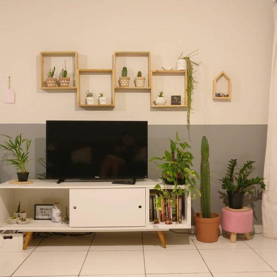 Sala com rack retro