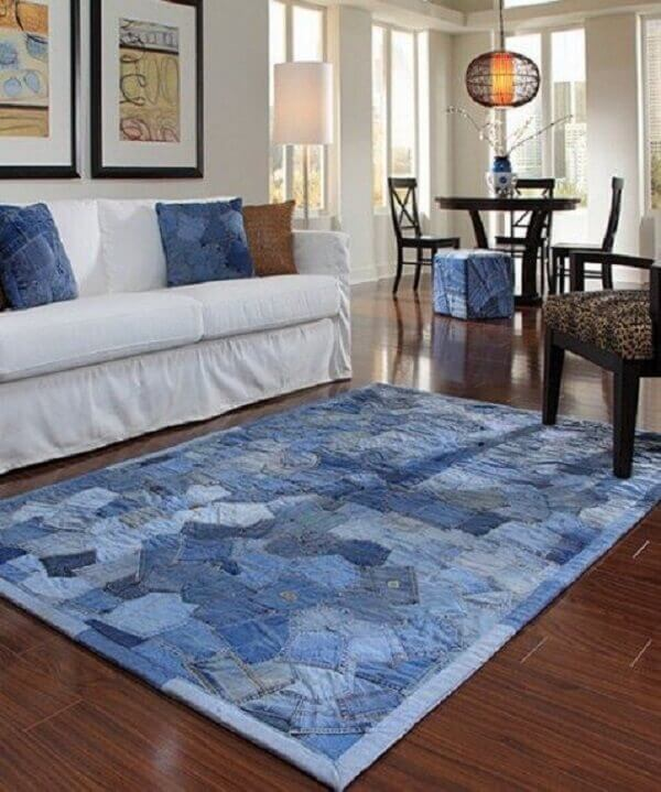 Tapete de retalho de tecido jeans para a sala de estar