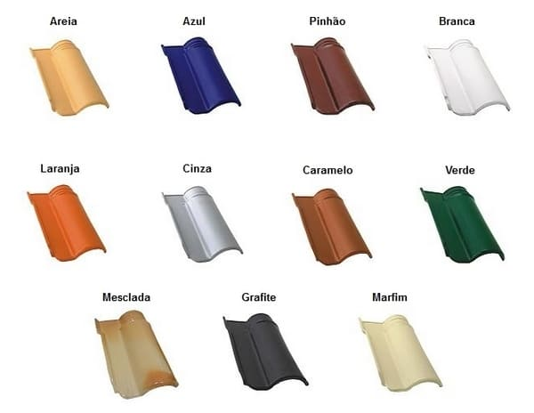 Telha esmaltada de diversas cores
