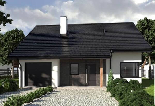 Telha esmaltada preta para casa moderna
