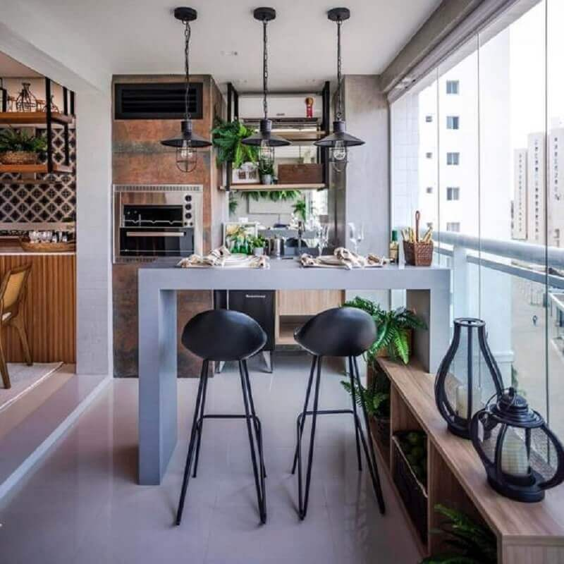 apartamento com área gourmet pequena decorada com churrasqueira embutida Foto Casinha Arrumada