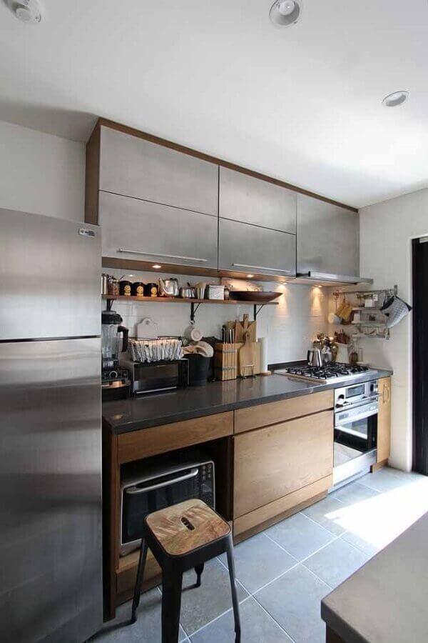 armário de cozinha feito em madeira e inox Foto Pinterest