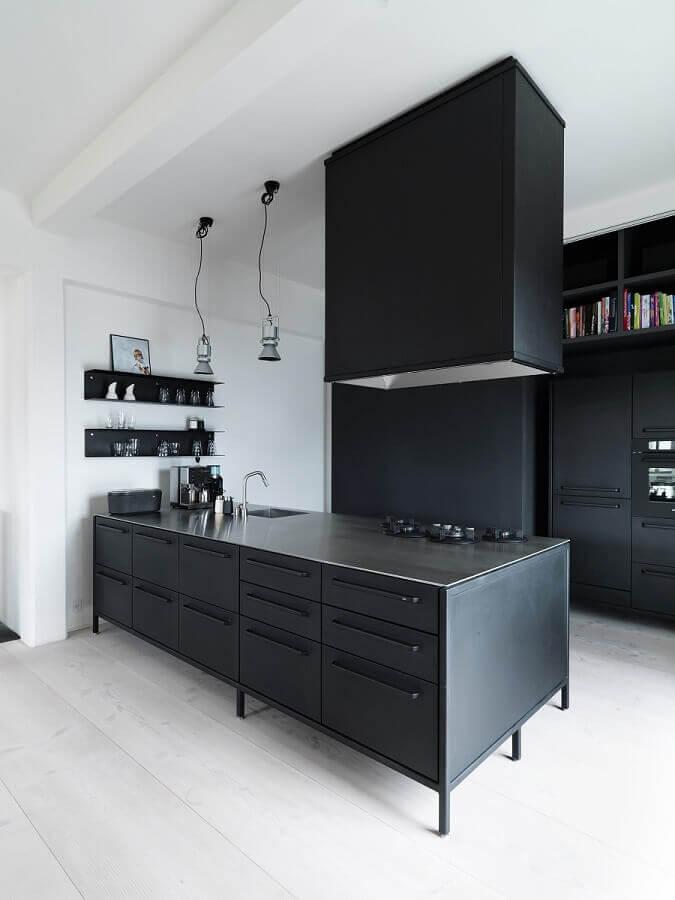 armário de cozinha preto Foto Archilovers