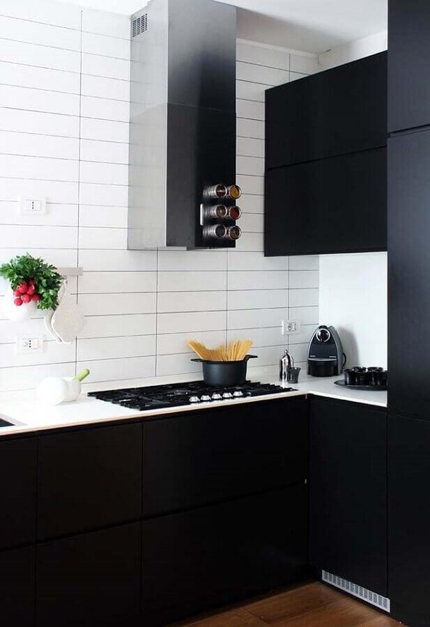 armário de cozinha preto Foto Pinterest