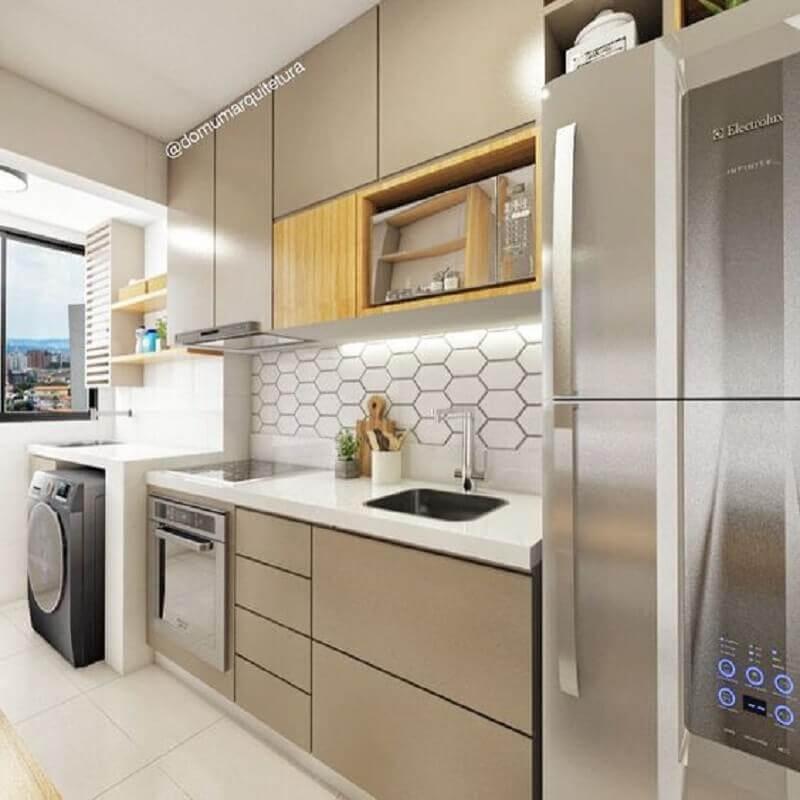 armários para cozinha planejada com lavanderia pequena Foto Pinterest