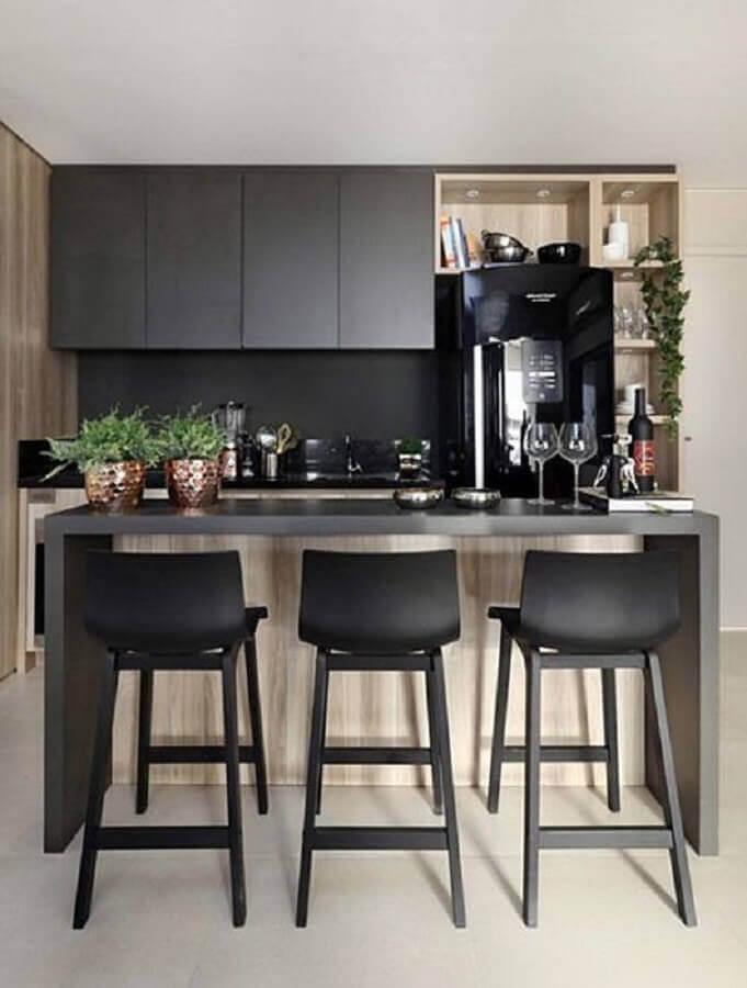 banqueta preta para cozinha pequena Foto Simples Decoração