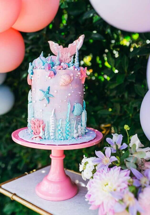 bolo decorado para festa sereia Foto Zozu